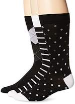 Tallia Men's Stripe Argyle Dot Crew Socks (Pack of 3)