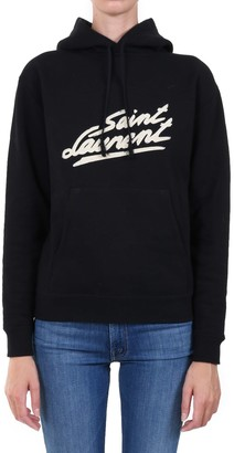 Saint Laurent Signature Hoodie Sweatshirt Black