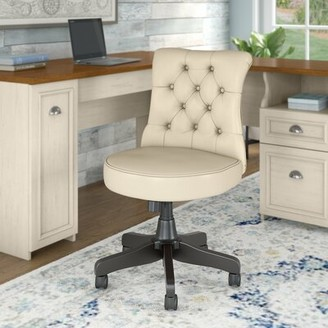 Three Posts Niles Mid Back Tufted Task Chair Upholstery: Antique White