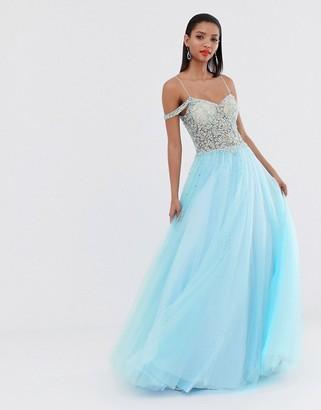 Jovani off shoulder princess maxi dress with sheer middle-Blue