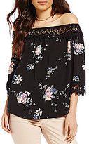 Jolt Floral Printed Off-The-Shoulder 3/4-Sleeve Crochet Trim Top