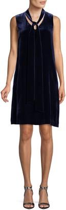 Lafayette 148 New York Velvet Tie Neck Silk-Blend Dress