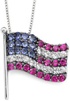FINE JEWELRY Lab-Created Blue/White Sapphire & Ruby Flag Pendant Necklace