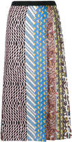 Carven mixed-print pleated midi skirt