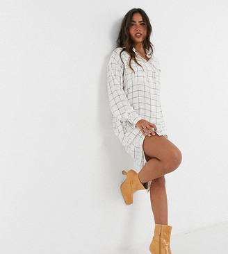 NATIVE YOUTH button down midi shirt dress in flannel grid check cream