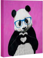 Deny Designs Panda With Finger Heart Pink Art Canvas By Coco De Paris