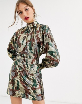 ASOS DESIGN mini dress in camo sequin in slouchy fit with belt