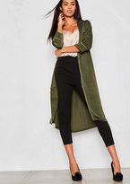 Missy Empire Clara Khaki Silky Contrast Piping Duster Jacket