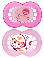 Mam Night Age 6+ Months Glow-in-the-Dark Pacifier in Pink (2-Pack)