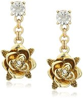 "Betsey Johnson Throwback Betsey"" Rose Drop Earrings"