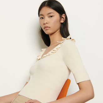 Sandro Sweater with ruffles at the neckline