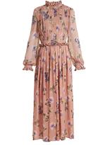 MSGM Silk-chiffon pleated floral dress