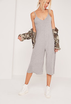 Missguided Jersey Strappy Plunge Culotte Romper Grey