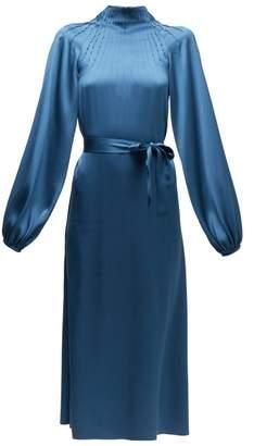 Rochas Pintucked Silk-satin Midi Dress - Womens - Blue