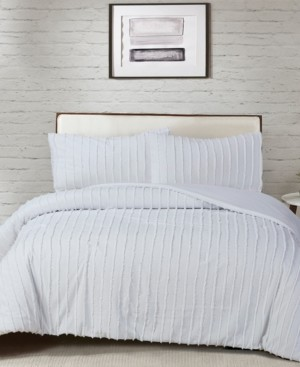 White Birch Cotton 3-Pc. Tufted Chenille Stripe King Comforter Set Bedding