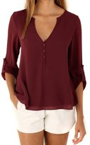 Happy Sailed Women 2016 New Casual Chiffon Button V Neck Blouses Shirts, XX-Large