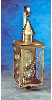 Breakwater Bay Piatt Outdoor Wall Lantern Color: Antique Brass, Glass Type: Clear