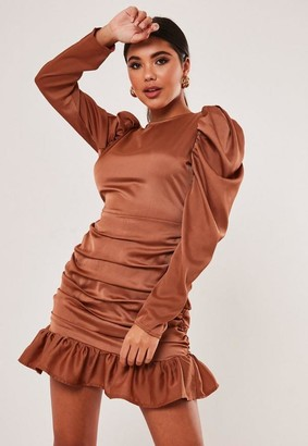 Missguided Rust Satin Puff Sleeve Ruched Mini Dress