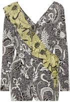 Diane von Furstenberg Ruffled Wrap-effect Printed Silk Crepe De Chine Playsuit