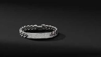 David Yurman Curb Chain Id Bracelet With Pave Diamonds