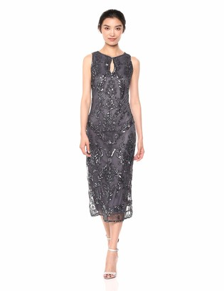 Pisarro Nights Women's Long Beaded Dress with Keyhole Front and Floral Motif