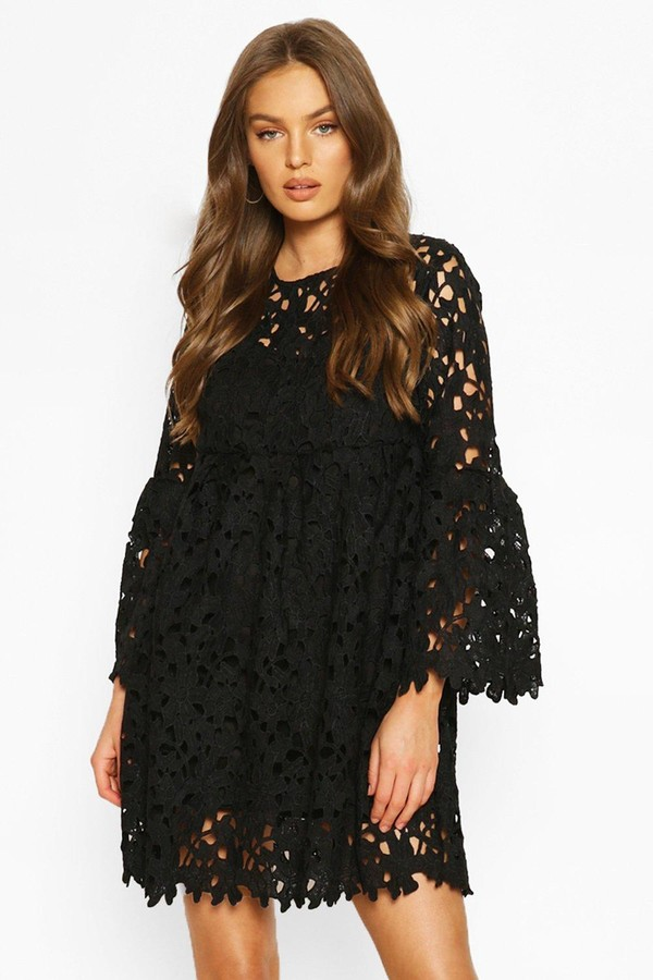 boohoo Heavy Lace Flare Sleeve Smock Dress
