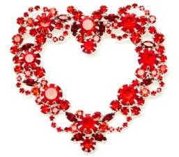 Art School Heart Wreath Crystal-embellished Brooch - Red