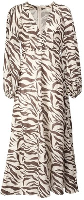Zimmermann Fiesta Zebra Print Linen Maxi Dress