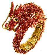 Butler & Wilson Butler and Wilson Crystal Chinese Dragon Wrap Bangle Red