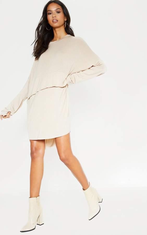 PrettyLittleThing Stone Long Sleeve Layer Jersey T Shirt Dress