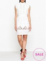 Anna Sui Daisy Fields Eyelet High Neck Dress