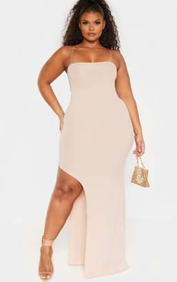 PrettyLittleThing Plus Stone Spaghetti Strap Maxi Dress