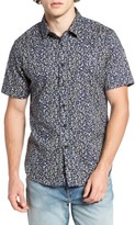 7 Diamonds Men's Night Fall Floral Print Short Sleeve Sport Shirt