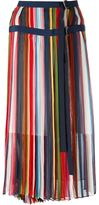 Sacai striped midi skirt - women - Polyester/Cupro - 3