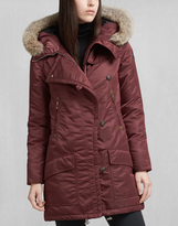 Belstaff Drake Down Coat With Fur Burgundy