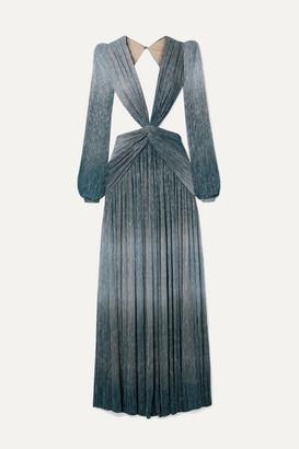 PatBO Cutout Twist-front Ombré Lurex Maxi Dress - Blue