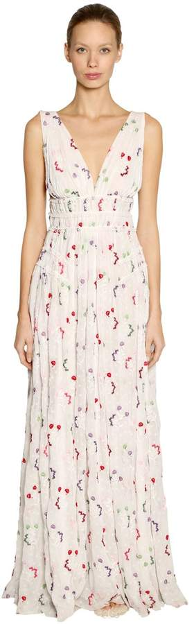 Giamba Floral Embroidered Georgette Long Dress