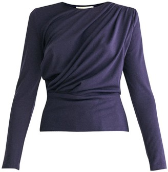 Paisie Diagonal Draped Top With Teardrop Cut Out Back In Navy