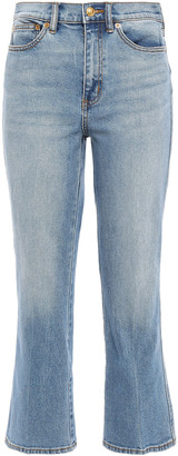 Tory Burch Cropped Faded High-rise Bootcut Jeans
