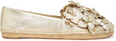 Tory Burch Blossom Metallic Appliquéd Textured-leather Espadrilles - Gold