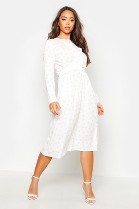 boohoo Wrapped Front Polka Dot Midi Dress