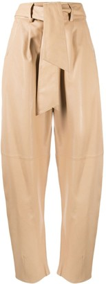 FEDERICA TOSI Tie-Waist Tapered Leather Trousers