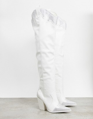 Public Desire Brandy western embellished over-the- knee boots in white