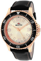 Seapro Tideway Mens Rose-Tone Dial Black Leather Strap Watch
