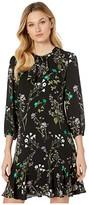 CeCe Winter Botanical Flounce Dress (Rich Black) Women's Dress