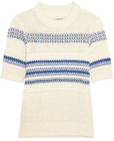 Current/Elliott Striped Open-Knit Linen And Cotton-Blend Sweater