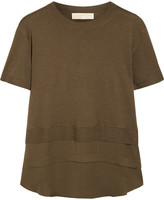 MICHAEL Michael Kors Silk chiffon-paneled knitted top
