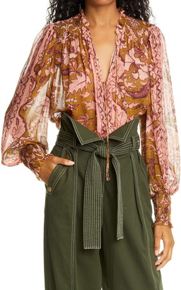 Ulla Johnson Anita Floral Print Fil Coupe Blouse