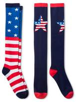 Bioworld Women's 2-Pair pk Knee High Socks - Stars & Stripes One Size