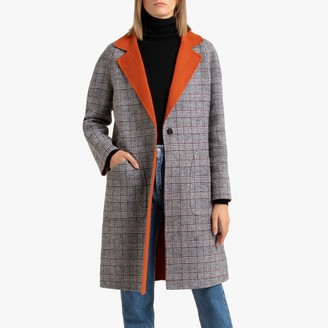 Benetton Wool Mix Checked Coat with Single-Breasted Buttons and Contrast Collar